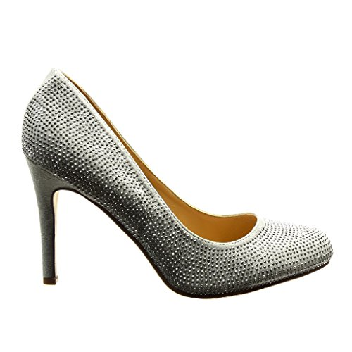 Angkorly - Chaussures Chaussures Mode Décolleté Stiletto Sexy Femme Strass Stiletto Haut Talon 9.5 Cm Argent