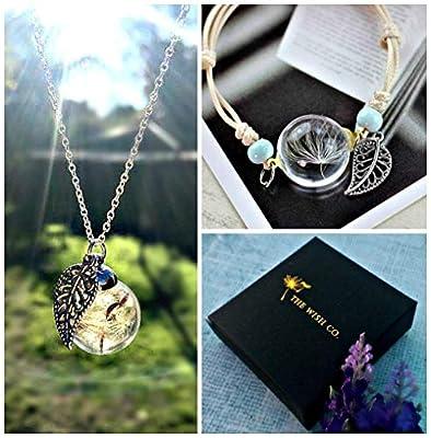Chaîne en argent sterling Collier de pissenlit et bracelet de pissenlit Ensemble-cadeau - Ensemble de bijoux assorti bracelet cordon cadeau d'anniversaire