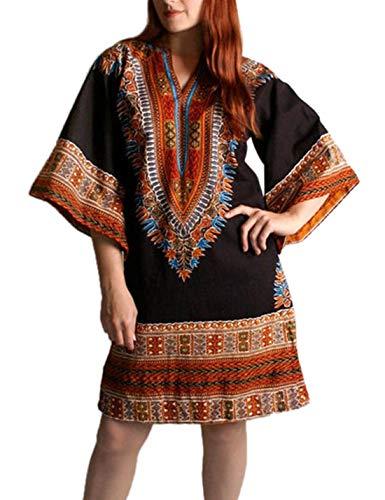 Vestido Midi Túnica Manga Campana Otoño Vestidos Africanos Casual para Mujer Negro XL