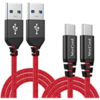 WorCord Cable USB C (2-Pack) USB 3.0 Type-C a Type-A USB 3.0 Cable de Datos, Carga Rápida 2m Cable de Conexión Nylon Cable Tipo C Sincro y carga usb para BQ ...