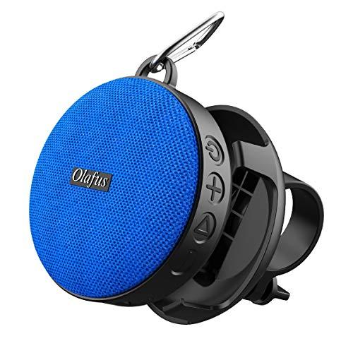 Olafus Bluetooth Lautsprecher, IPX7 Wasserdicht Bluetooth 5.0 Duschlautsprecher mit Fahrradhalter, Tragbar Wireless Speaker mit Freisprechenfunktion für Fahrrad, 10H Spielzeit