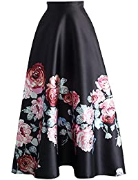 V-SOL Falda Larga de Cintura Alta Encaje Floral para Mujer Fiesta Negro