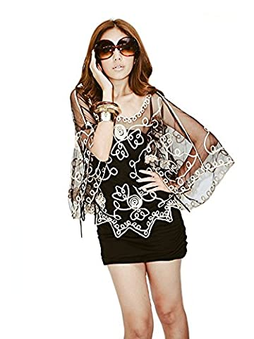 Women's Sheer Embroidered Mesh Lace Poncho Top, One size up to UK 14 (Black & Gold)