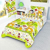 Nursery Bedding Set Duvet Cover + Pillowcase to fit Cot/Cot Bed/Toddler Bed Girls Boys Forest Animals 100% Cotton (100x135 cm)