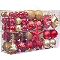 Valery Madelyn Boule de Noël, 100Pcs 2cm-13cm Rouge Et Or Décoration de Noël Incassable Boule Décoration d'arbre de Noël