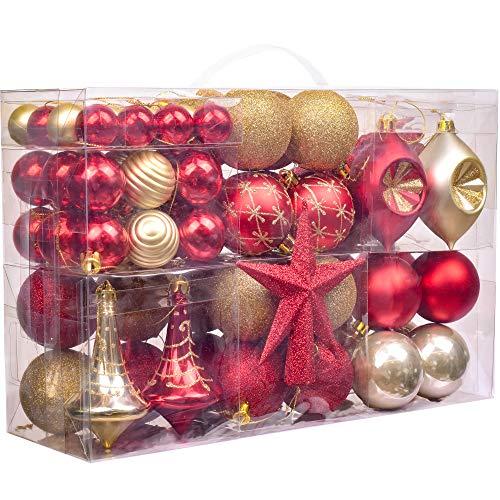 Valery Madelyn Palline di Natale 100 Pezzi 3-13cm Plastica Palline di Natale per La Decorazione di Natale con Albero di Natale Pizzo e Appenderia Decorazioni di Natale Tema Luxury Red Gold