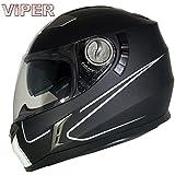 BRAND NEW VIPER RS-V9 SPEED MATT BLACK FULL FACE ACU MOTORBIKE MOTORCYCLE SHARP 4**** CRASH HELMET QUICK DUAL VISOR AND BALACLAVA (M (57 to 58cm))