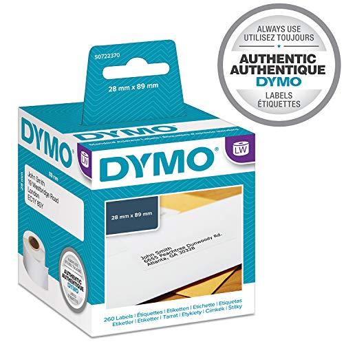 Dymo S0722370 Selbstklebende Adressetiketten, 28 mm x 89 mm, Weiß, Packung mit 2 Rollen à 130 Stück