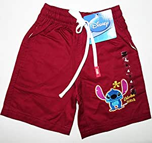 Disney Lilo and Stitch Boys Girls Red Cotton Board Shorts Size 8 Age 4-5 Years Childrens Kids Summer Holiday Beach Clothes Clothing