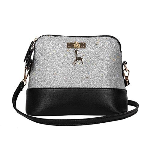 Handtasche Damen Btruely Mädchen Messenger Crossbody Vintage Tasche Damen Kleines Shell Leder Handtasche (T Silber)