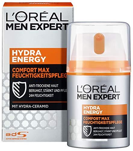 L\'Oréal Men Expert Hydra Energy Comfort Max, Nicht-fettende Feuchtigkeitspflege, Sensible und Trockene Männerhaut (50 ml)