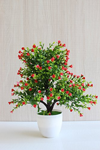 FunkyTradition Artificial Tree Blossom Flower Plant Home Office Decoration Red-White