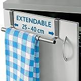ArtMoon Spread | Türhandtuchhalter | Halter für Handtücher, Lumpen, Geschirrtücher aus Edelstahl | Ausziehbare Breite 25 - 40 cm | Türschutz | Abmessungen : 25/40x8x9 cm