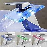 robinet mitigeur lavabo led cascade lumineux en verre changement de couleur bleu/vert/rouge/