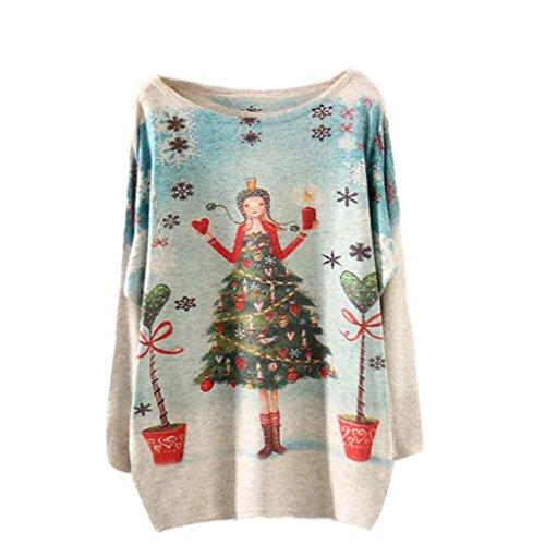 Koly_Donna di Natale Batwing maniche lunghe di colore allentato maglione Maglieria Top A2