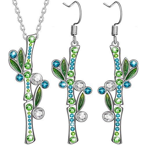 Dawanza - -Valentinstag Geschenke Gold überzogene Kristallschmucksache-Satz für Frauen - Grüner Bambus - Modische Halskette und Ohrringe