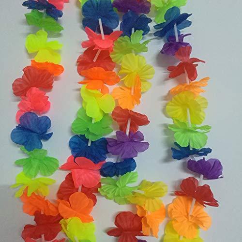 Gankmachine 100CM Hawaiian Halskette Kranz Hawaii Tuch-Blumen-Thema-Partei-Kränze Stirnband-Feiertag Wedding Strand-Geburtstags-Garland