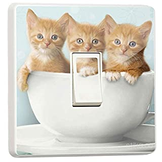 Pretty Light switch decoration stickers - Flower, Animal, Nature, Sport Designs - Generic Single - by stika.co(kittens in a cup)