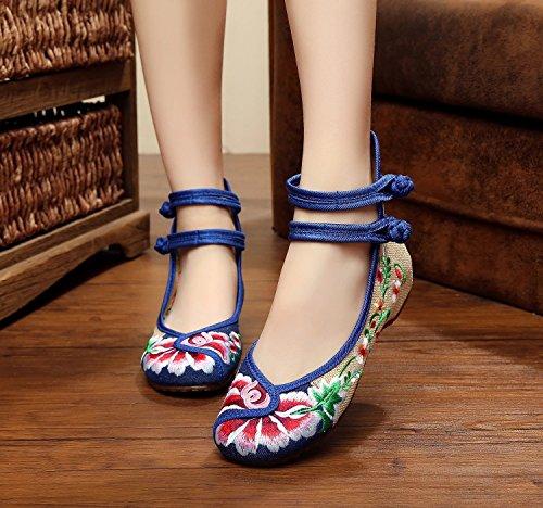 ZLL scarpe Belle ricamati, unico tendine, stile etnico, scarpe femminili, moda, comodi, scarpe da ballo Yellow