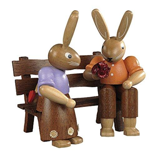 NUEVOS pares del conejo en el banco pintado barnizado, pequeño, los 9cm