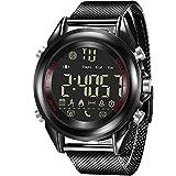 ThreeCat Männer Uhr Smart Watch Legierungsmaterial Armbanduhren mit Bluetooth Unterstützung Kamera Fernbedienung/Anruf und SMS Erinnerung/Kalorien Zähler für IOS iPhone Android Phone