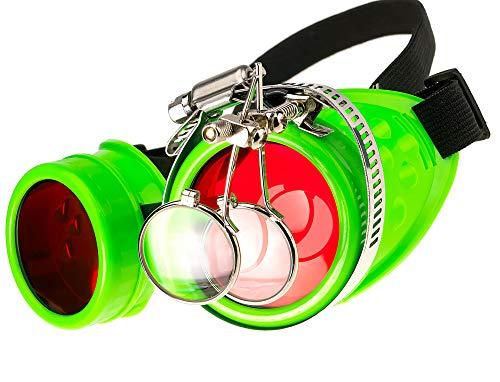 MFAZ Morefaz Ltd Schutzbrille Schweißen Sonnenbrille Welding Cyber Goggles Steampunk Goth Round Cosplay Brille Party Fancy Dress (Neon Green Loupe)