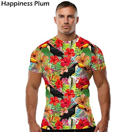 KYKU Vogel Shirt Blume Shirt Männer Kurzarm 3D Print T-Shirt Hip Hop T-Shirt Rock Mode Marke Kleidung Hohe Qualität Papagei 4XL - Tier-blumen-print-rock