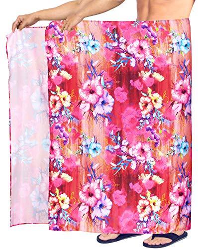 Sarong Bekleidung Pareos (HAPPY BAY 3D HD Herren-hawaiische Strand Sarong Pareo Badetuch lässig Wrap Blumen Hibiskus 3D HD High-Definition-Druck Rosa_Y578 78