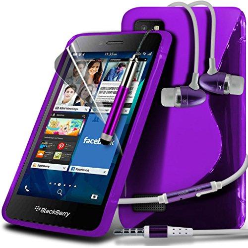 i-Tronixs (Viola + auricolare) <b> Blackberry Leap Custodia </ b> Qualità S linea cassa del (Telefono Guardia Schermo Custodia In Silicone)
