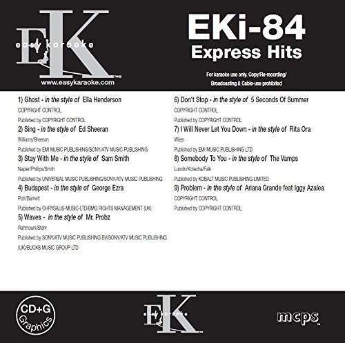 EKi-84 (Express Hits Volume 84) on CDG disc - Part of the Easy Karaoke Express Hits range - 9 Chart Hits including Ghost - Ella Henderson; Sing - Ed Sheeran; Stay With Me - Sam Smith; Budapest - George Ezra; Waves - Mr. Probz; Don't Stop - 5 Seconds Of Summer; I will Never Let You Down - Rita Ora; Somebody To You - The Vamps; Problem - Ariana Grande ft. Iggy Azalea (Sam Smith Stay With Me Cd)