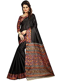 Refreshing Deal Kalamkari Saree Below 500 For Women With Blouse Piece Printed Khadi Silk Material In Black Color