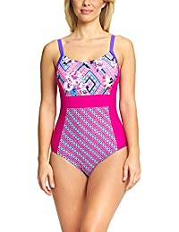 Zoggs Bañador de mujer con panel lateral, mujer, Havana Poolside Side, Pink/Multi-Colour, 38