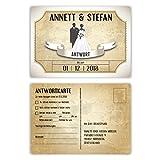 30 x Antwortkarte Hochzeit Hochzeitskarten Antwort Postkarte - Vintage Brautpaar in Weiß