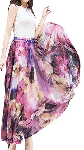BLACKMYTH Damen Blumen Bedruckte Voller Länge Chiffon Strand Lang Maxi Rock Violett Small (Double Slit Skirt)