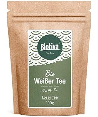 Thé blanc Pai Mu Tan Bio (100 g) - cueillies à la main - doux, parfumé et aromatique - Fairbiotea certifié - la culture du thé durable - équitable Condition de travail