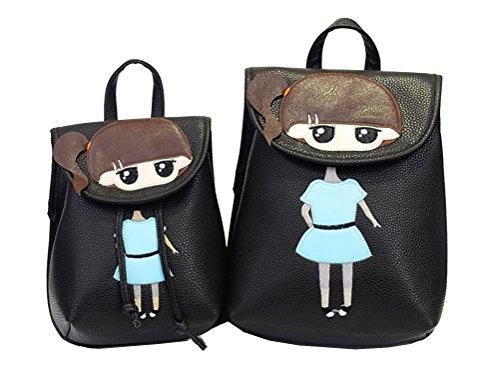 Yan Show Damen PU Schultertaschen Vertikale Linien Rucksack Handtasche Multifunktions Tasche(Grau) Schwarz
