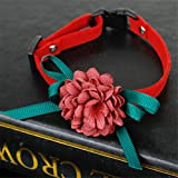 CanVivi Kragen Tier Hund Halsband Kettenwürger Choker mit Blumen Rot