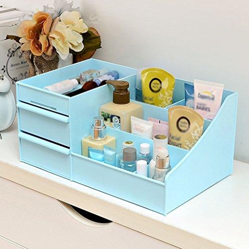 MMM Boîte de rangement de bureau Boîte de rangement Dressing Cosmetic Vanity bureau Tiroir Boîte de finition ( Couleur : Bleu )