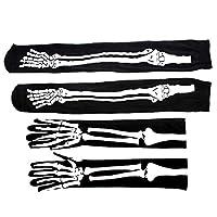 MLJ Halloween Cosplay Socks and Gloves, 1 Pair Over the Knee Skeleton Socks and 1 Pair Full Finger Long Arm Skeleton Gloves for Masquerade Party