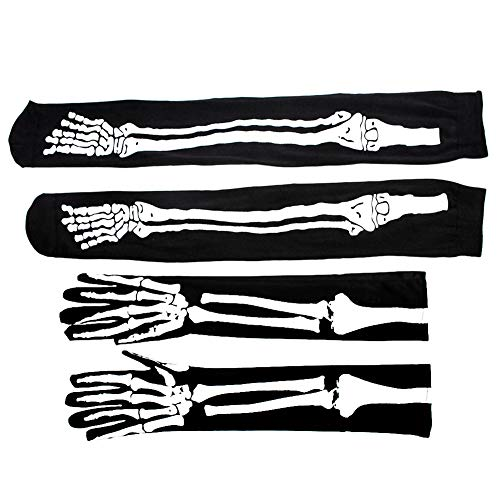 MLJ Halloween Verkleidung Skelett Handschuhe & Skelett Kniestrümpfe