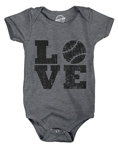 Crazy Dog Tshirts Creeper Love Baseball Cute Baby Bodysuit Cool Sports For Infant -6-12m - Baby-Jungen - 6-12 Months (Creeper Baby Infant)