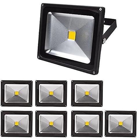 OUMIZHI 8x 30W Floodlight Warmwhite Noir Boîtier en aluminium IP65 Lampe LED étanche Lampe murale Projecteur Floodlight LED Lampe de jardin Acier extérieur