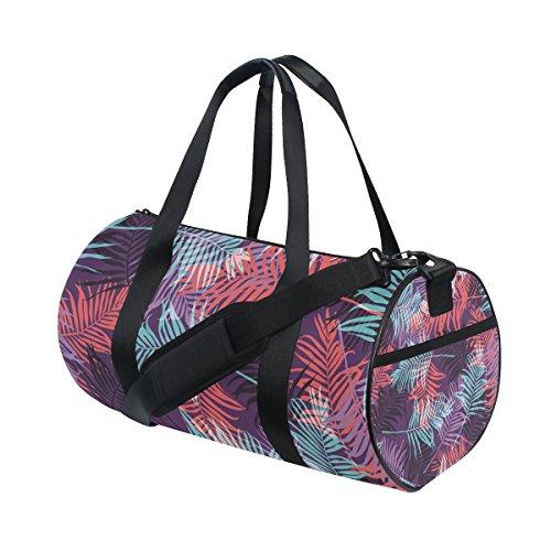 jstel Tropical Palm Leaf Muster Neon Sports Gym Tasche für Frauen und Herren Duffle Reisetasche Haarbürste Palm