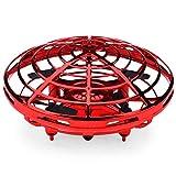 Zgifts UFO Flying Ball Giocattoli Bambini Mani Sensing Hover Drone con LED luci aeromobili RC induzione Elicottero Giocattoli Bambini Natale Halloween Regalo,Red