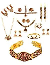 Multiline Company Multi-Colour Metal Traditional Wedding /Bharatanatyam Full set For Women