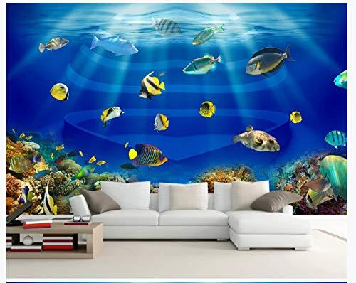 Murale carta da parati muro di fondo per tv stereo 3d a forma di cuore di acquario con pesci tropicali ocean world, 400cmx280cm (157,5 per 110,2 in)