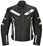Herren Motorrad Jacke MaxDura Kurz Textil Motorradjacke wasserdicht winddicht mit Protektoren in Schwarz Weiß M