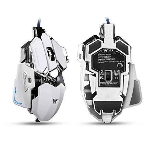 Combaterwing -Gaming Ratón LED Optica Conectar el Juegos 4800 DPI Profecionales(blanco)