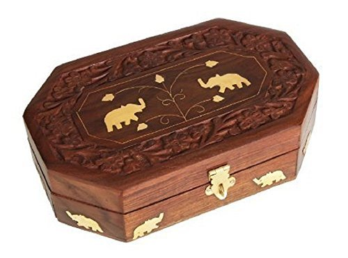 Indiabigshop Holz Handmade Schmuck Box Handacrafted Elephant Messing Inlay mit Blumen Design und Lock System Keepsake Storage Ohrring, Bangels, Neckless Orgnazier ideal für Frauen Größe 8 X 5 Zoll (Box System Storage)