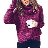 OranDesigne Maglione Donna Invernali Caldo Alta Colletto Maglioni MaglieriaOversize Sciolto Knit Pullover Tops Viola IT 42